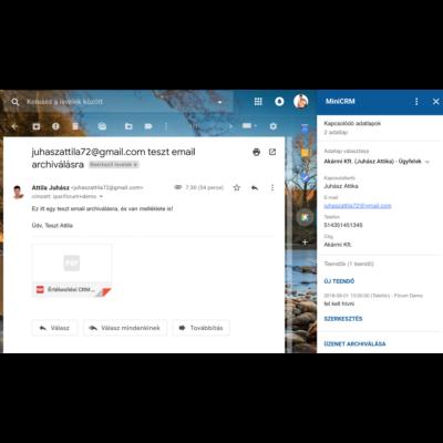MiniCRM Gmail bővítmény (app) gyakorlati használata