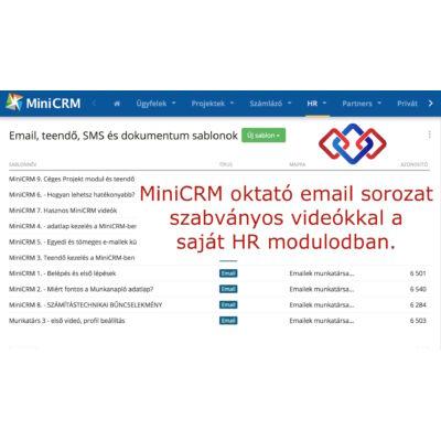 MiniCRM oktató videók email sorozat HR modulban